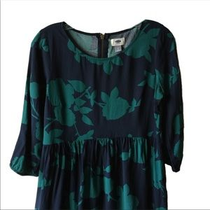 Old Navy navy and green print dress -size small